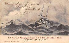 1102) LA R. NAVE CARLO ALBERTO DURANTE IL CICLONE NELL'OCEANO ATLANTICO. VG.