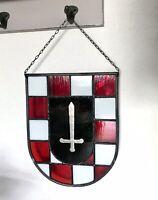 Alt Antik Bleiverglasung Fensterbild Wappen Glas rot weiß Karos silber Schwert