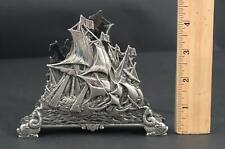 Antique Dutch Silver Repousse Maritime Sailing Ship Desktop Letter/Napkin Holder