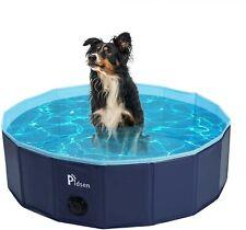 Foldable Dogs Cats Padding Pool Pet Bathing Tub Bathtub Wash Tub (M φ32in, Blue)