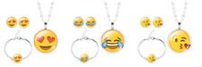 Emoji Jewelry Necklace Set Earring Bracelet Earrings Glass PlatedCabochon Silver