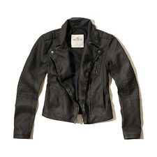 NWT Hollister Abercrombie Womens Black Washed Faux Leather Biker Jacket Coat ~ L