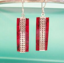 """1 1/4"""" Red Abalone Paua Shell Rectangle Earring Handmade 925 Sterling Silver"""