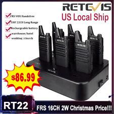6Xretevis Rt22 Uhf Walkie Talkies Uhf400-480Mhz License-free 2W 1000mAh Vox+Usb