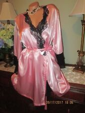 SECRET TREASURES Sexy pink black lace Babydoll nightgown robe set Lingerie Large