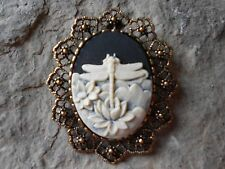 *2 In 1- Stunning Dragonfly (Black) Cameo Brooch / Pin / Pendant!