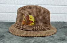Vintage Brown Plaid Fedora Hat with Feather Size XL Made In The USA