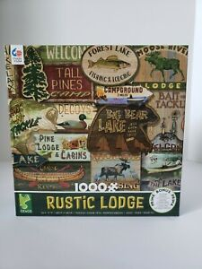 Ceaco Rustic Lodge Signs 1000 Piece Jigsaw Puzzle Cabin Lake Woods Nature *NEW*