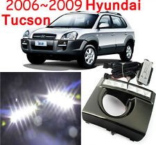 2x White LED DRL Daytime Running Light Fog Lamp Cover For Hyundai Tucson 2006-09