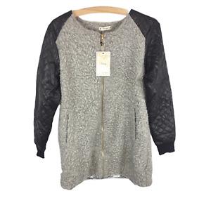 Womens Ladies Grey Faux Fur Faux Leather Zip Winter Jacket Coat Size M/L New