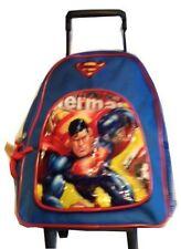 "Superman backpack 12"" Travel School bag Rolling Luggage Wheels new"