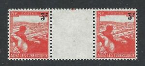 FRANCE 1946 Surcharge on TB Stamp Mint Lightly Hinged Gutter Pair (Jul 617)