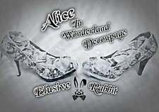 Alicia en el país de las Maravillas Vintage Decoupage Personalizado Tacón Alto Talla 3 4 5 6 7 8 Boda