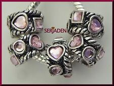 5 Pink Heart & Geometric Band Spacer Charms 8 mm by 13 mm w/ 5 mm Hole R176