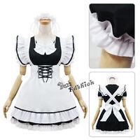 Lolita Girls Cosplay Party Uniform Black White Maid Costume Dress+Apron+Headwear