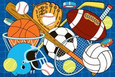 3x5 Sport Area Rug Basketball Football Hokey Soccer Baseball Volleyball Kids New