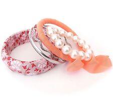 Neu SET 5 ARMREIFEN orange/rosa/creme/silber PERLENARMBAND Blumen ARMREIF Perlen