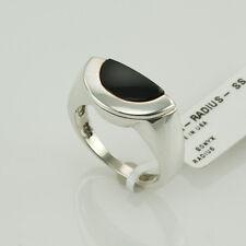 MOVADO onice nera argento sterling UNISEX ANELLO MISURA 5