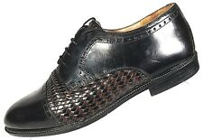 Stanley Blacker Men's Oxford Shoes Size 11D Black Cap Toe Brown Weave Derby  #69