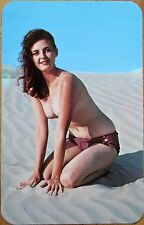 Pinup 1960 Chrome Postcard: Woman/Bathing Beauty on the Beach - Topless/Nude