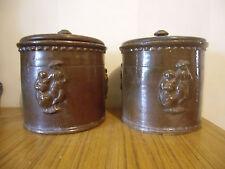 Anciens pots à TABAC  en céramique  décor  bretons
