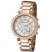 New Michael Kors Parker Rose Gold Chronograph MOP Dial Ladies Glitz Watch MK5491