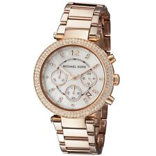 New Michael Kors Parker Rose Gold Chronograph MOP Dial Ladies Glitz Watch MK5491
