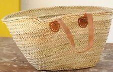 Moroccan Shoulder & Market Basket - Flat Tan Leather Handles - W50 D18 H30