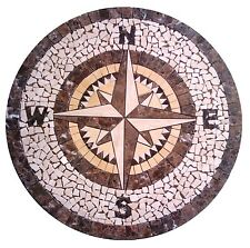 Floor Marble Round Medallion Compass Rose Tile Mosaic 30 inches