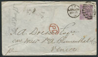 Great Britain, Scott #51a on Forwarded Cover, sent from London to Venice, Italy