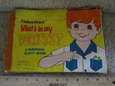 Vintage Fisher Price What's In My Pocket Soft Cloth Interactive Book For Boys