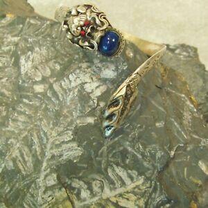 Tibetan Nepal Blue Lapis Unisex Gemstone Magical Carved Dragon Cuff Bracelet