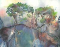 "Visionary Psychedelic Kissing Trees Man Woman Wall Art Print 11x14"" Surreal Love"