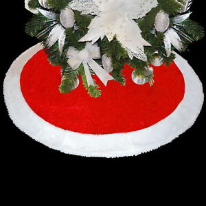 Deluxe Red Velour 100cm Tree Skirt with White Trim