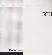 Boston Acoustics Original Installation Instructions for the 360 Speakers