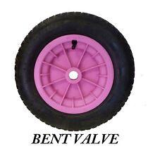 "PINK wheelbarrow 16"" / Trolley Wheel Pneumatic Tyre 4.80 / 4.00 - 8 BENT VALVE"