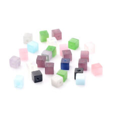 100pcs Colorful Cube Glass Beads Cat's Eye Style Smooth Loose Spacer Craft 4x4mm