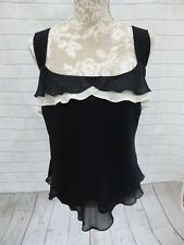 Berkertex Top Black Cream Size 18 Petite BNWT Shoulder Straps Viscose Evening