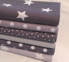 12 Patchwork Quilting Squares, GREY & WHITE Stars & Stripes, 100% Cotton