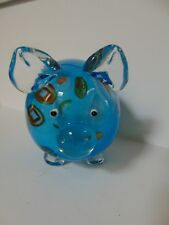 BLUE PIG - ART GLASS - BLUE & CLEAR - LARGE - MURANO STYLE - ADORABLE  DESIGN