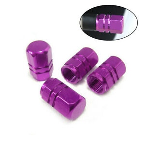 4pcs Wheel Tyre Valve Stems Caps Purple Car Air Dust Cover Screw Caps Truck Bike