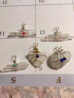5 Handmade Seaglass/Quartz Crystal Mix Pendants Grab Bag