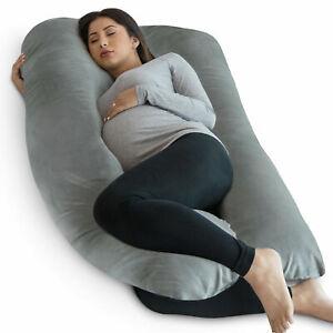 PharMeDoc Full Body, U Shaped Pregnancy Pillow Super with Soft Velvet Cover