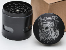 Skull Hunter Personalized Name 4 Layer Herb Grinder Glass Windows Grim Reaper