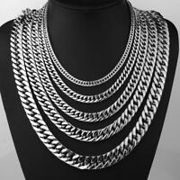 """6/8/12/15mm Mens Silver Stainless Steel Double Link Necklace Curb Chain 18-40"""""""