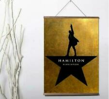Hamilton An American Musical Broadway promotional Canvas poster with wood scroll