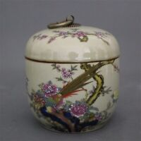 Chinese old porcelain Pastel flower bird Painting Receiving Tank Cover can