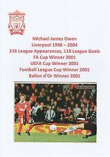 MICHAEL OWEN LIVERPOOL 1996-2004 ORIGINAL HAND SIGNED MAGAZINE PICTURE CUTTING