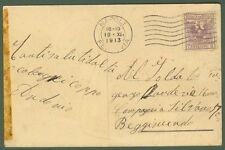 Cart. ill. del 1913 affr. marca da bollo cent.5 lilla