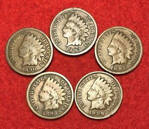 (5) Vintage Indian Head Pennies 1 Cent US Coins Penny Lot 1890s AG or Better!